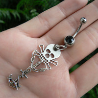 pirate skull belly ring skull and cross bones anchor charms in fantasy boho gypsy hippie goth  beach and hipster style