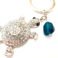 Sea Glass and Turtle Keychain, Turtle Lover Gift, Summer Accessories