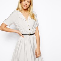 ASOS Shirt Dress With Military Detail And Belt