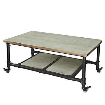 LNC Industrial Rectangle Pine Wood Wheel Coffee Table Cocktail Table