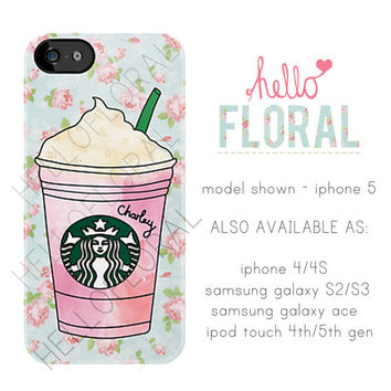 Personalised Starbucks Frappuccino floral girly by hellofloral