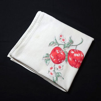 1960s Vintage Apple Print Cotton Tablecloth with Hand Embroidery for Upcycle Supply, Vintage Linens, 1960s Home Decor, Vintage Tablecloth