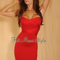 Apple Candy Red Strapless Bandage Dress