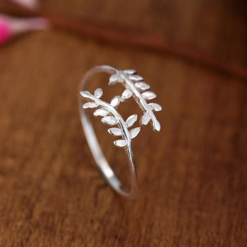 925 Sterling Silver Tree Leaf Open Rings For Women Fashion Lady Prevent Allergy Sterling-silver-jewelry