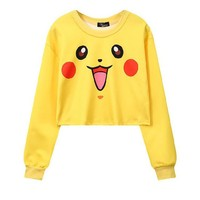 Pikachu 3-D Pokemon Printed Women's Crop Top Sweatshirts ONE SIZE