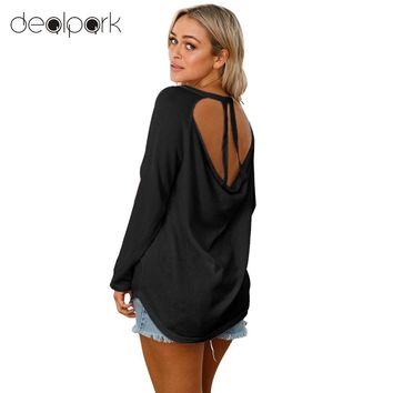 2018 Autumn Jumper Knitted Sweaters Women Backless Long Sleeves Sweater Cut Out Open Back Sexy Loose Knit Top Pullover Female