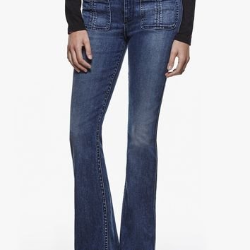 NWT 7 For All Mankind High Waist Braided Flare Jean, Vivid Indigo, Size 31