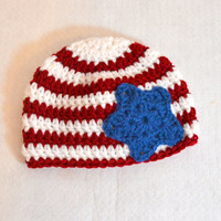Red White and Blue Baby Hat, Fourth of July, Newborn Photo Prop, Crochet Baby Hat, Red Stripe Blue Star, Ready to Ship, 0 to 6 months