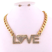 Diamond Love Necklace & Stud Earrings