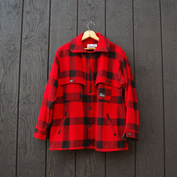 Vintage Buffalo Plaid Jacket, 60s 70s CODET Mackinaw Cruiser Jacket Large XL, Red and Black Plaid Wool Jacket, Hunting Fishing Outdoors Coat