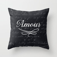Amour Black Throw Pillow - Geometric Pillow - Modern Decor - Throw Pillow - Urban Decor - by Beverly LeFevre