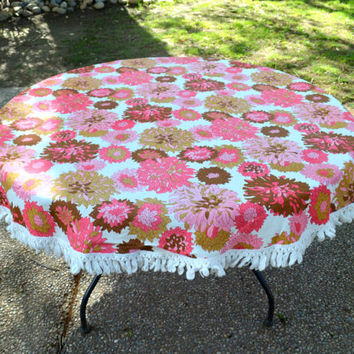 "Vintage Round Tablecloth with Fringe, Pink and Brown Hydrangeas, 64"", Indoor or Outdoor Entertaining, circa 1960s"