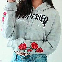 Thrasher Fashion Embroidery Rose Long Sleeve Top Sweater Pullover Sweatshirt Hoodie