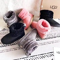 UGG Autumn And Winter Solid Color Women Keep Warm High Quality Fur Shoes Boots