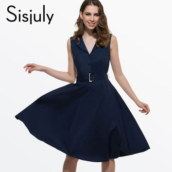 Sisjuly 50s 60s Women Vintage Dresses Summer Elegant Dress Sleeveless Party Dresses dark blue style a line rockabilly dress