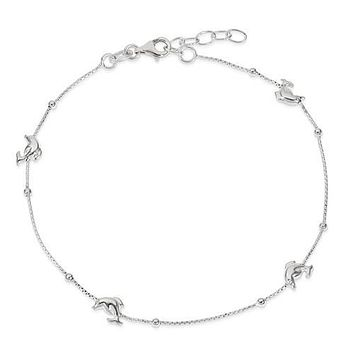 """Sterling Silver Dolphin 9"""" Anklet With 1in Ext."""
