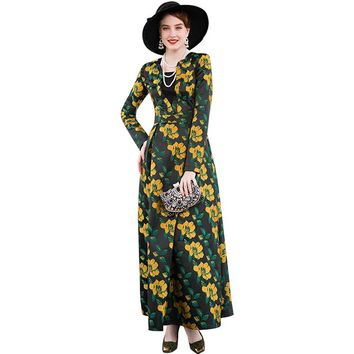 Trench Dress Fall Jacquard Long Sleeves  Flowers Ball Gown