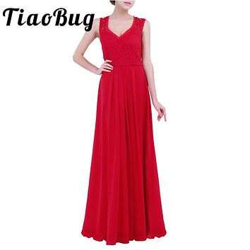 TiaoBug Elegant Women Ladies Sleeveless Chiffon V Neck Lace Bridesmaid Floor Length Long Dress Formal Occasion Prom Party Dress