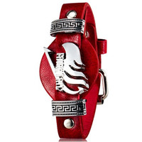 Anime Fairy Tail Design Faux Leather & Alloy Wristband (Red)