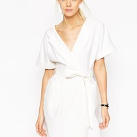 ASOS Obi Wrap Dress in Natural Fibre
