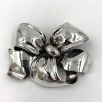 Monet Sterling Silver Ribbon Brooch Large Rare Vintage