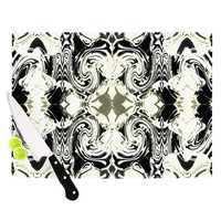 """Dawid Roc """"THe Palace Walls III"""" White Abstract Cutting Board"""