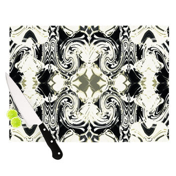 "Dawid Roc ""THe Palace Walls III"" White Abstract Cutting Board"