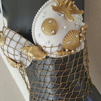 gold and white queen mermiad rave bra-royal mermaid festival top- mermiad shell top with dangling net