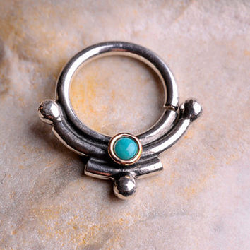 SEPTUM RING / EAR / Sterling Silver 16 gauge with 2mm turquoise in yellow gold filled setting - 8mm innner diameter. Handcrafted
