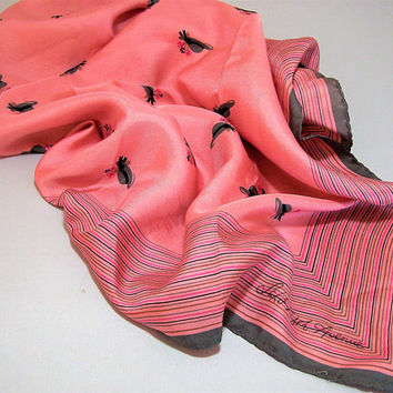 Saks Hat Print Silk Scarf, 26x26 Inches, Pink and Grey, Vintage Mid Century Accessory, Head Neck Purse Wrap  517