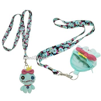 Licensed cool Loungefly Disney Lilo & Stitch Scrump Lanyard W/plush zipper coin purse doll NEW