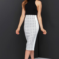 The Fifth Label Go Outside Ivory and Black Print Midi Skirt