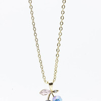 NECKLACE / CRYSTAL STONE / METAL CHERRY PENDANT / AURORA / LINK / CHAIN / 16 INCH LONG / 1/2 INCH DROP / NICKEL AND LEAD COMPLIANT