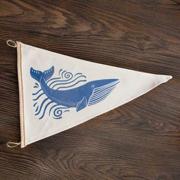 Handmade Whale Pennant Flag in White and Blue - 16x10.5""
