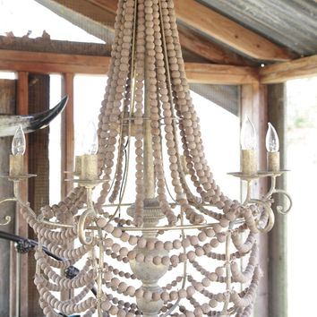the Cora beaded wood chandelier