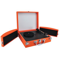 PYLE PVTTBT8OR Bluetooth(R) Classic Vinyl Record Player Turntable with Fold-Out Speakers & Vinyl-to-MP3 Recording (Orange)