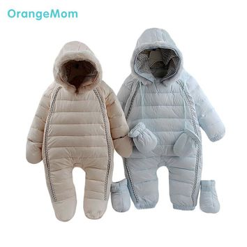 kids winter warm hoody overalls jackets coverall for girls clothes baby boy snowsuit toddler down outdoor suit baby jumpsuit