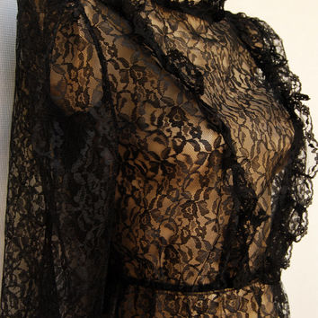 Vintage 70s Sheer Black Lace Blouse Victorian Ruffle Steampunk Style Prairie S M Peplum