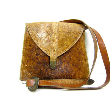 Vintage brown leather purse Distressed Leather Satchel 90s Buckled Purse Cross Body Bag Boho Two Tone Leather Shoulder Bag Worn In Leather