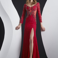 Off Shoulder Long Sleeved Lace Sheer Jasz Red Carpet Pageant Dress 4999