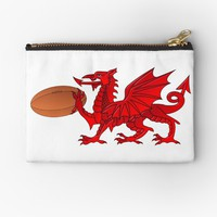 'Welsh Dragon With a Rugby Ball' Studio Pouch by MarkUK97