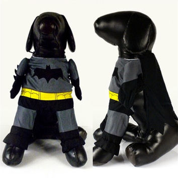 New Dog Puppy Batman Costume Outfit Cotton Clothes Jumpsuit Funny With Shawl = 1927895812