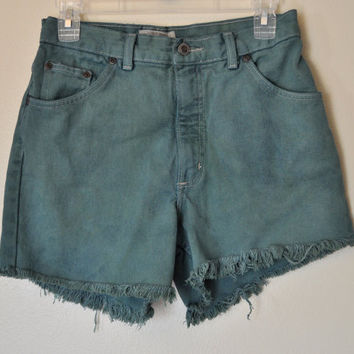 VINTAGE Denim Jean SHORTS - Hand Dyed Blue Green Urban Style Denim St. Johns Bay High Rise Vintage Shorts - Misses Size 10 (30)