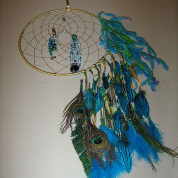 Mystic Secrets Mermaid Large Dream catcher Native American Inspired, love packed within its fiber,love is shown here with a flowing water