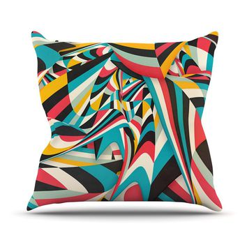 """Danny Ivan """"Don't Come Close"""" Abstract Blue Throw Pillow - Outlet Item"""