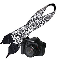 Camera Neck Shoulder Strap for Women DSLR Padded Camera Strap SLR Padded Travel Camera Strap  Nikon Canon Binocular Strap Black White