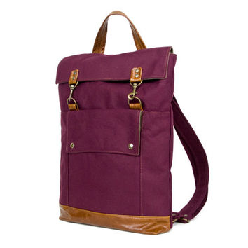 Backpack in Burgundy Plum Red Canvas and Cognac Brown Leather Accents - Rucksack Bag - Back to School - Ready to Ship