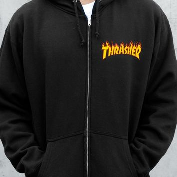 Thrasher Magazine Shop - Thrasher Flame Logo Zip Hood