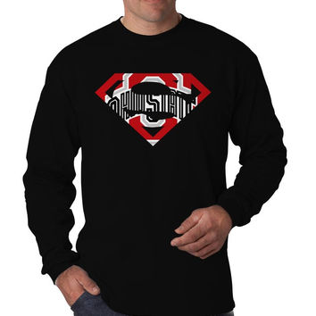 Ohio State Buckeyes Inspired Superman Logo Long Sleeve Men's T-Shirt Long Sleeve Men's Tees Men's Shirt