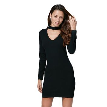 Brief Halter Cut Out Bodycon Black Dress for Women
